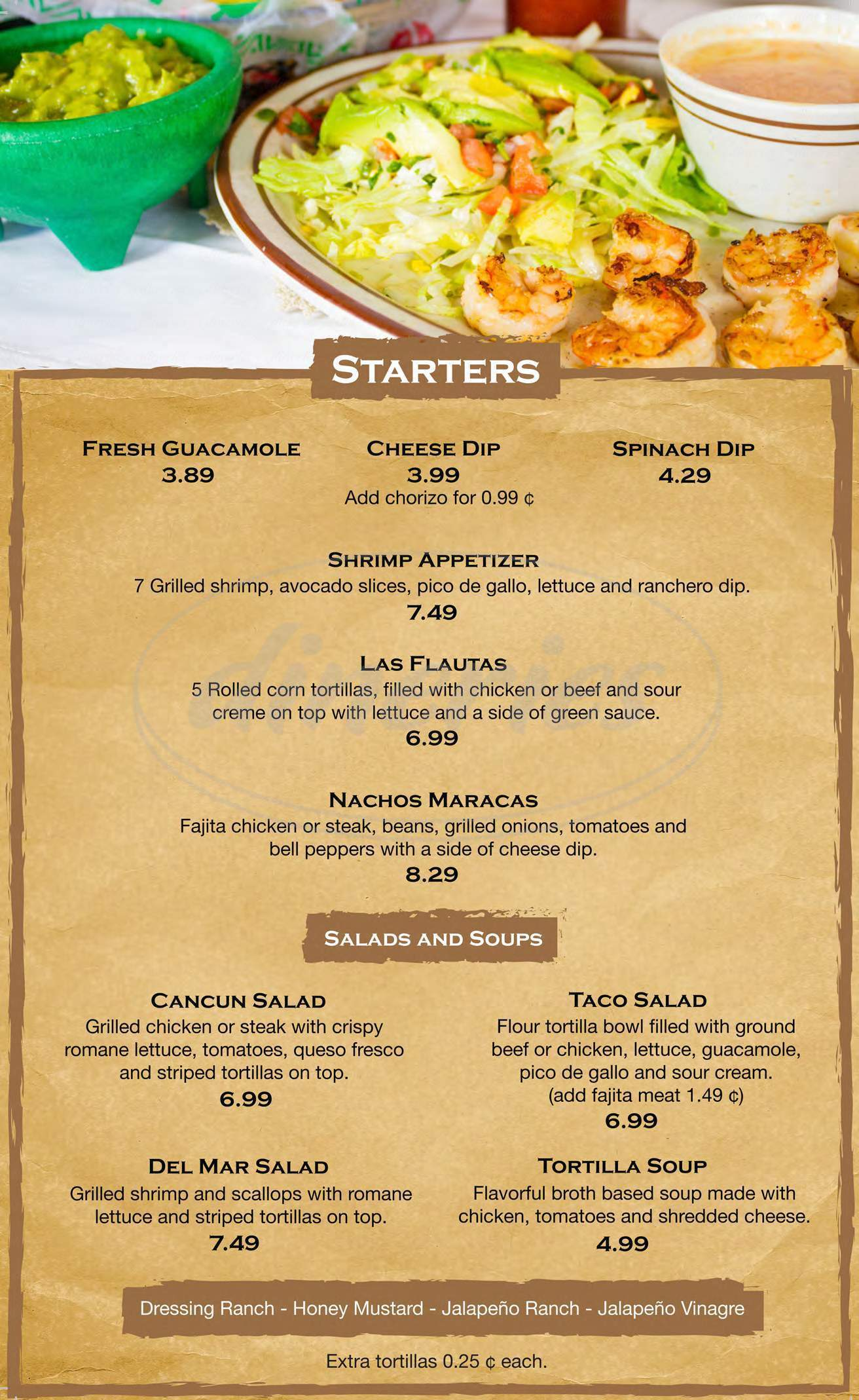 menu for Mr. Mambo
