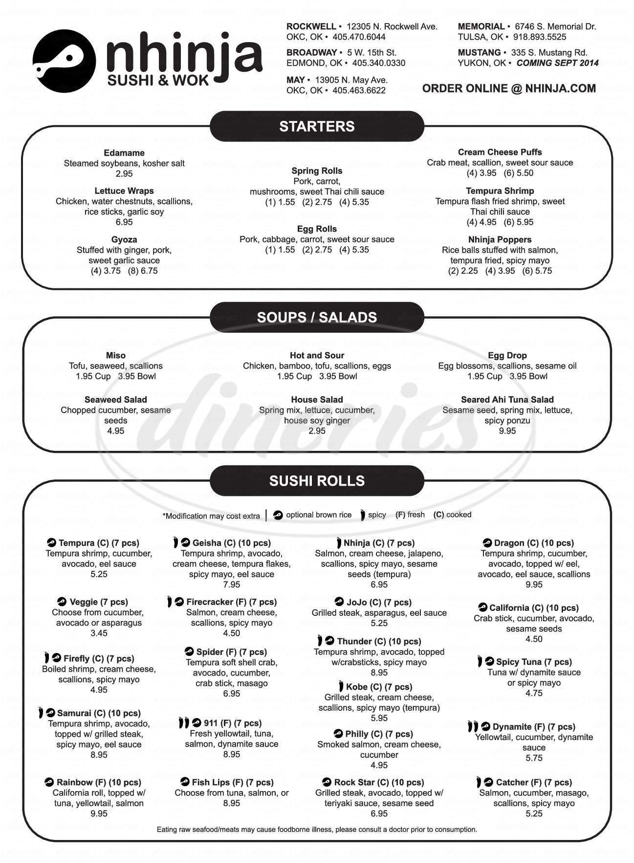 menu for Nhinja Sushi & Wok