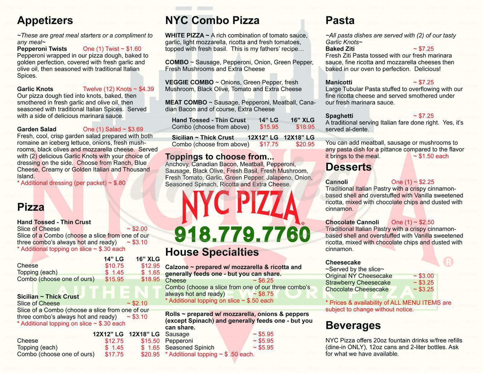 menu for NYC Pizza
