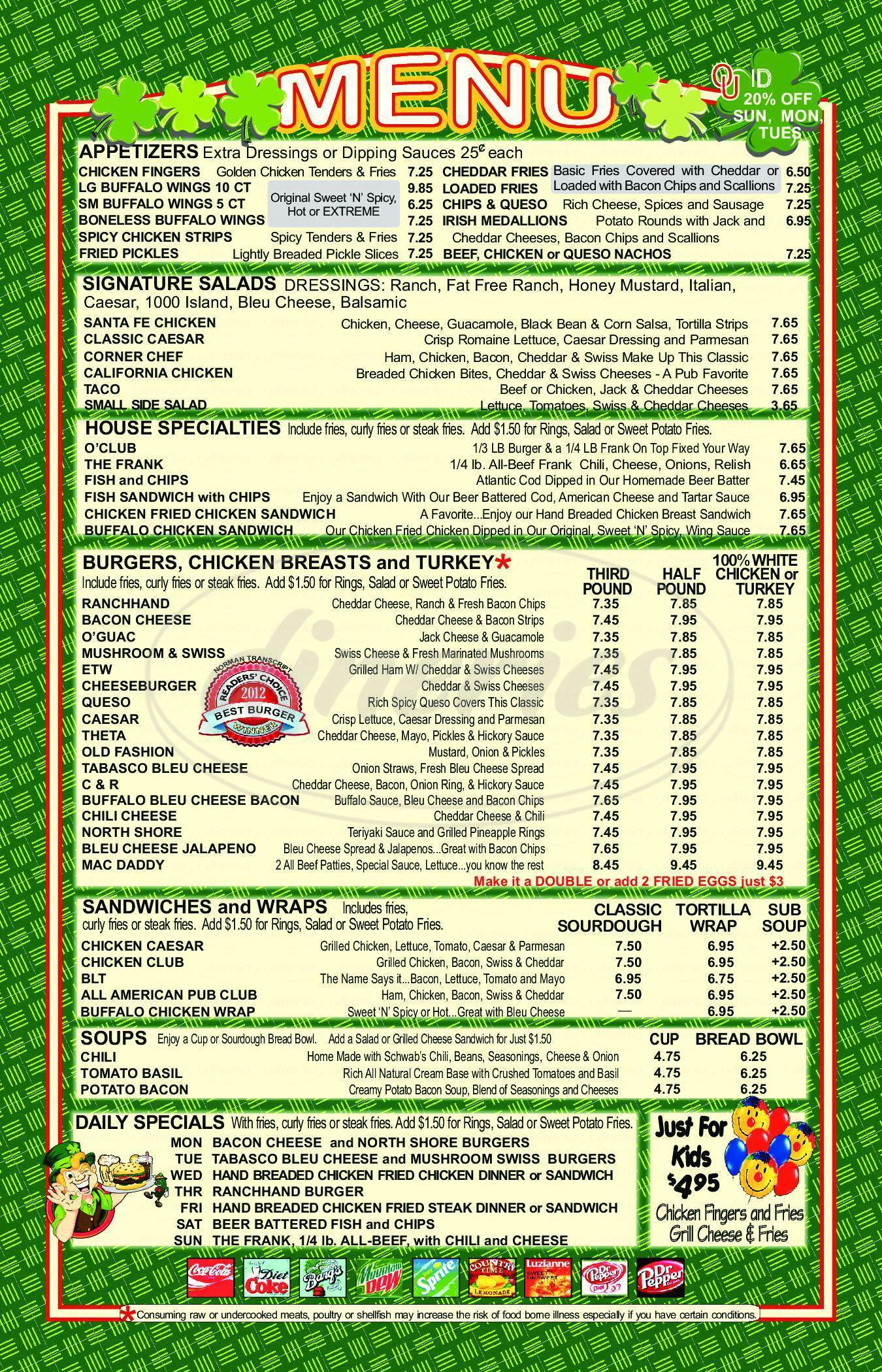 menu for O'Connell's Irish Pub & Grill