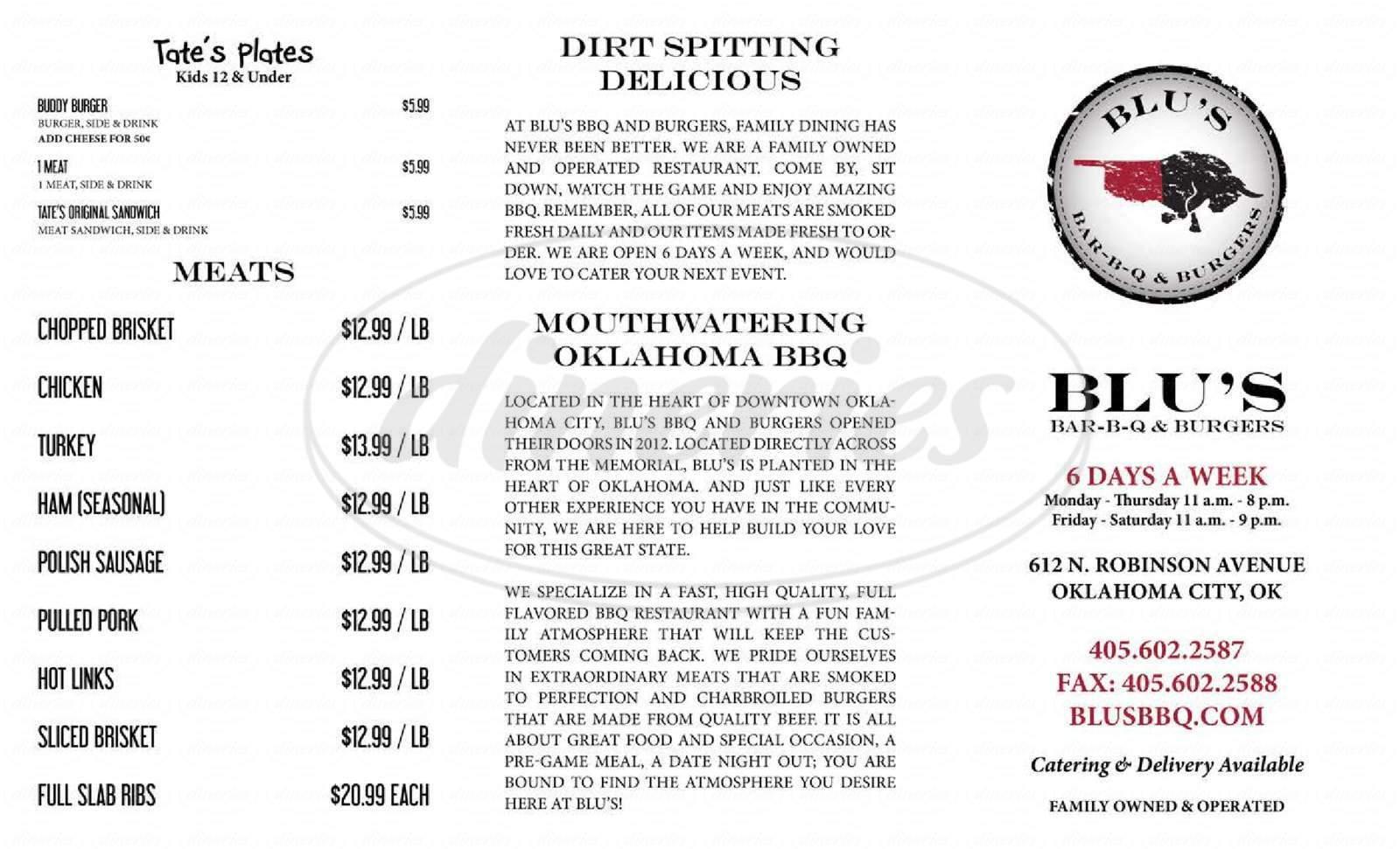 menu for Blu's BBQ and Burgers