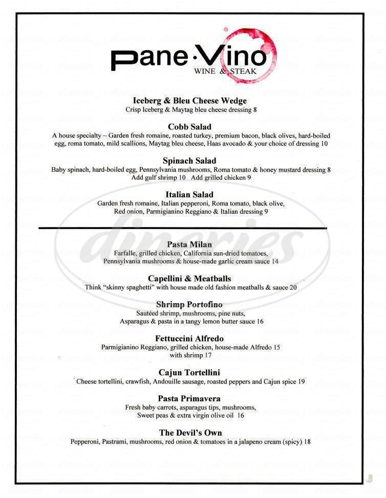 menu for PaneVino