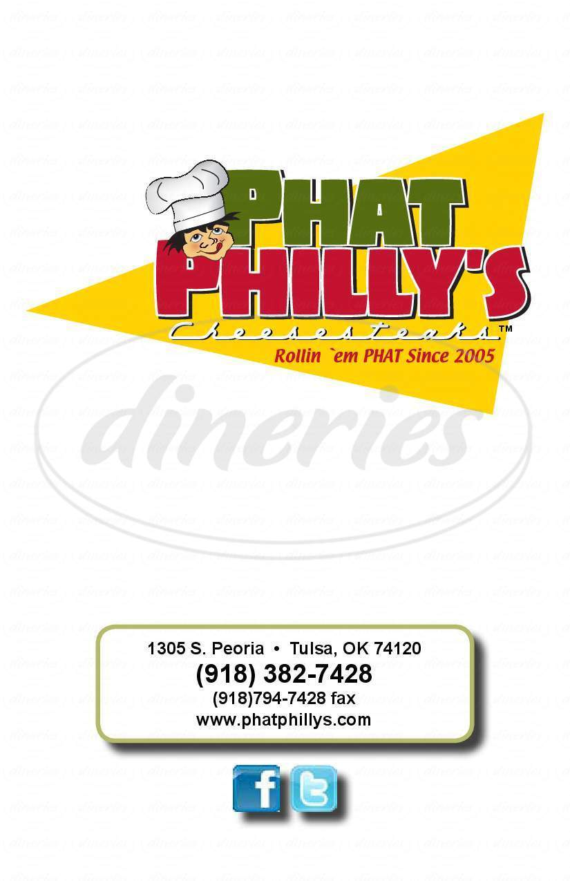 menu for Phat Philly's Cheesesteaks
