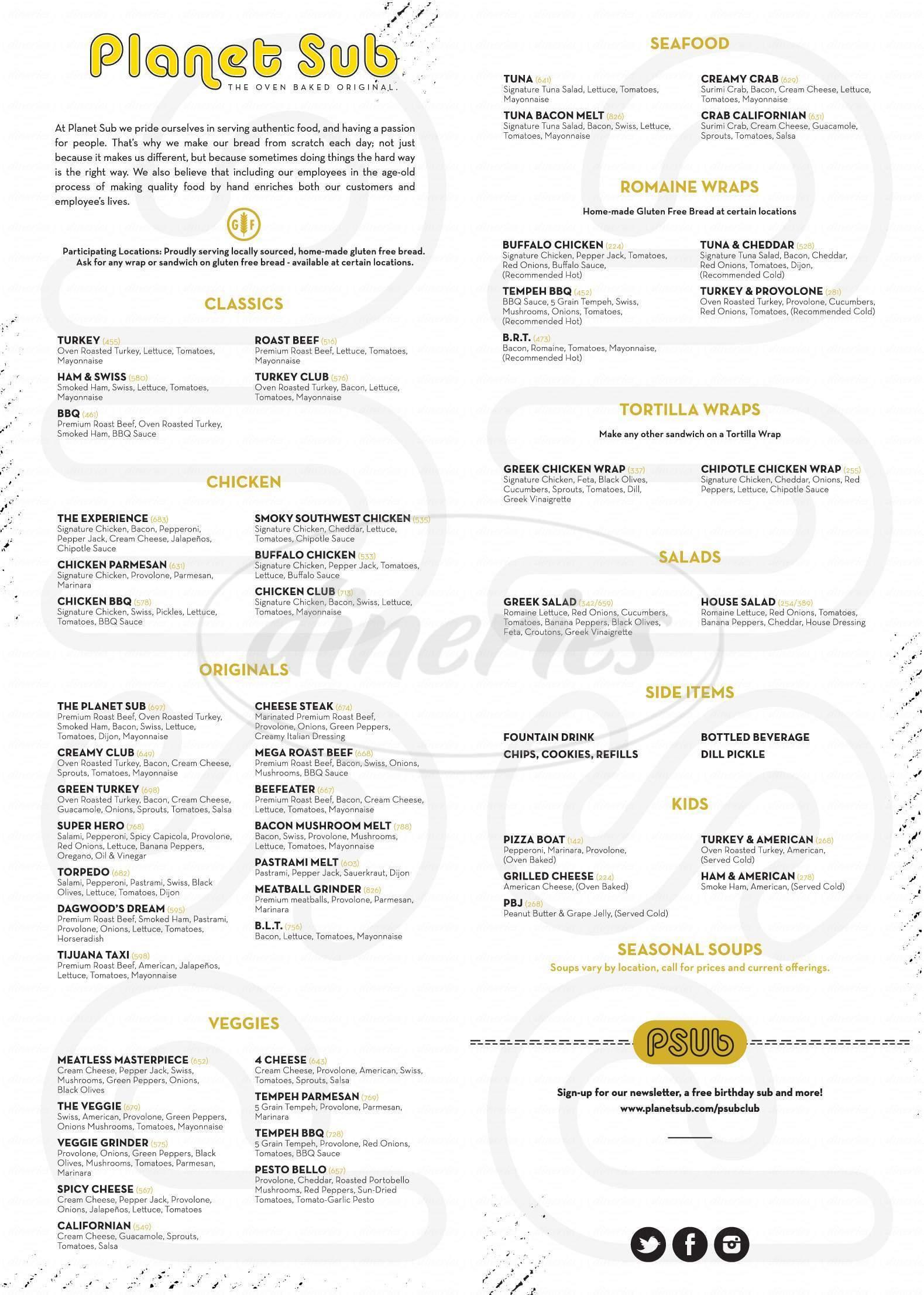menu for Planet Sub