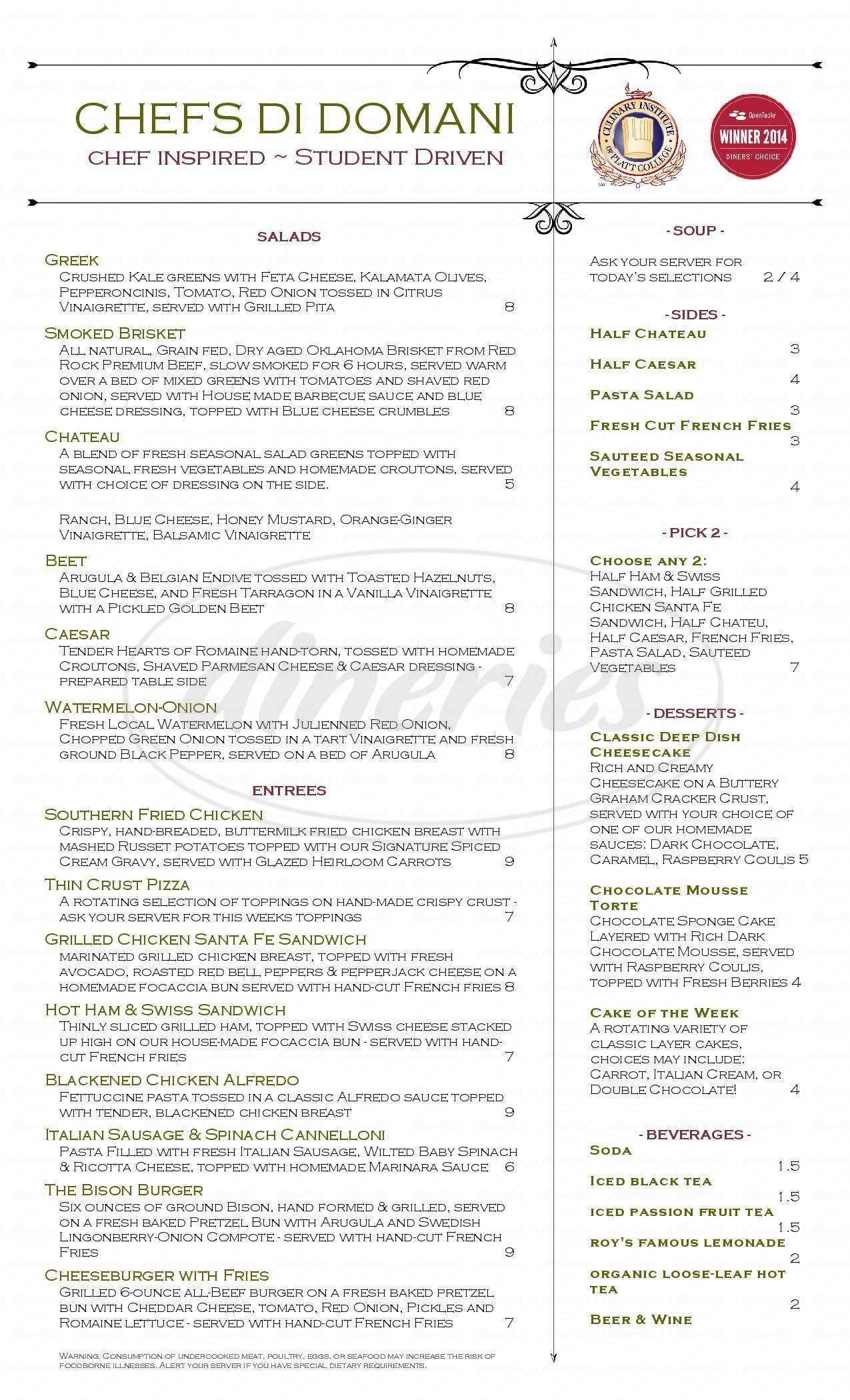 menu for Chefs Di Domani