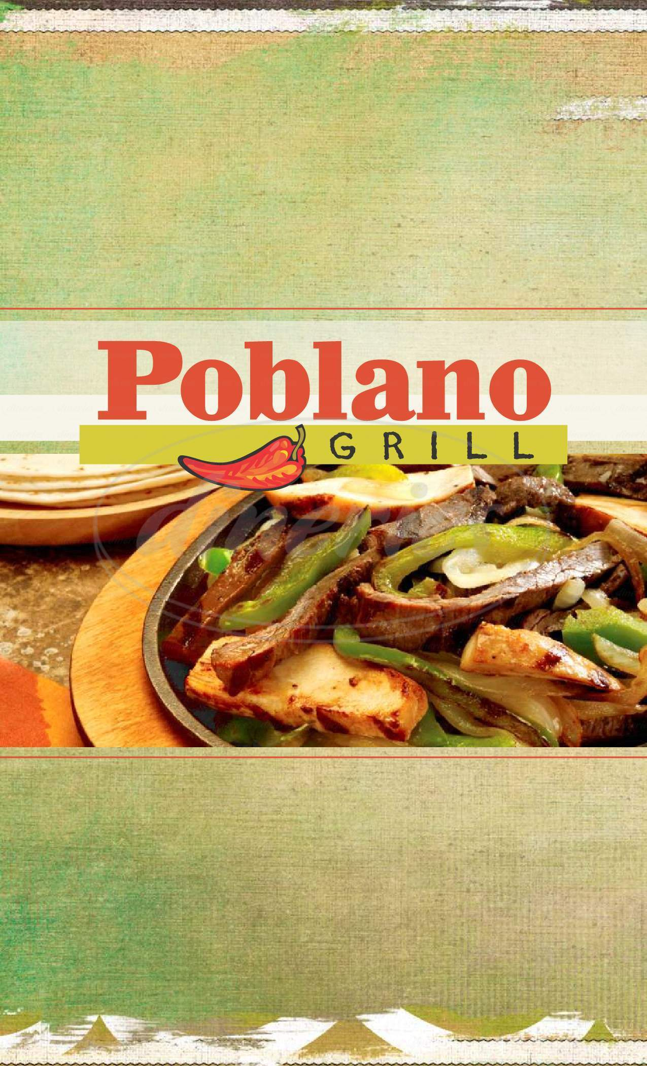 menu for Poblano Grill