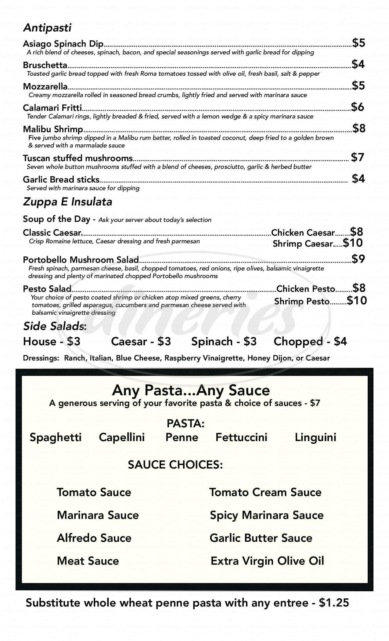 menu for Primo's Italian Restaurant