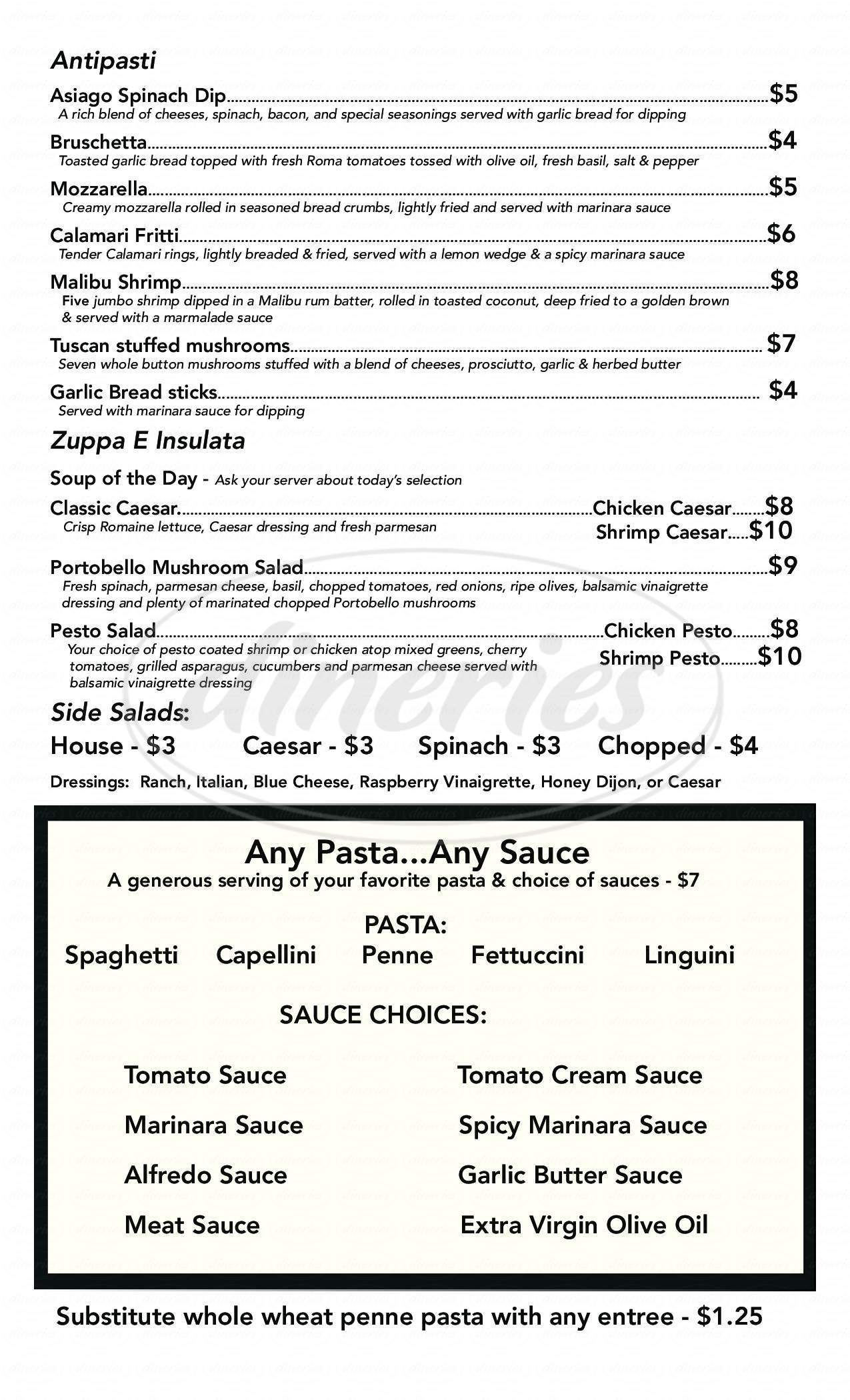 Big menu for Primo's d'italia, Oklahoma City