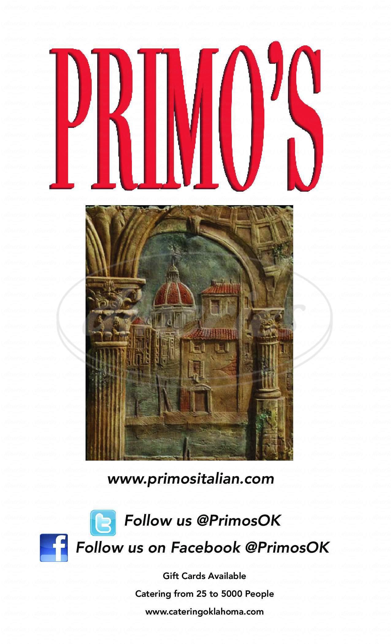 menu for Primo's d'italia