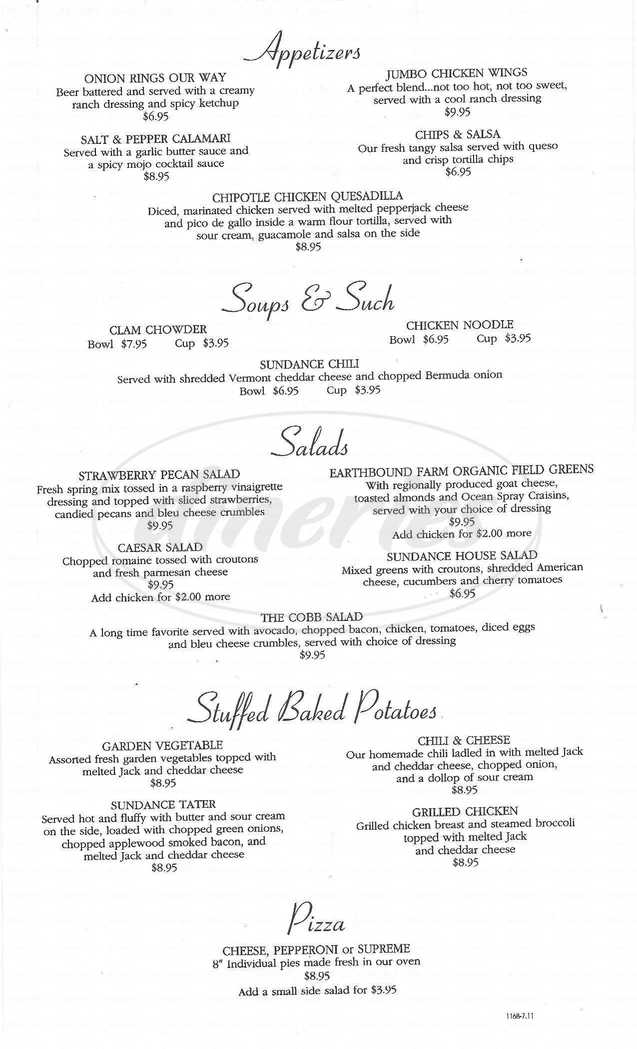menu for Quartz Mountain Resort Arts & Conference Center