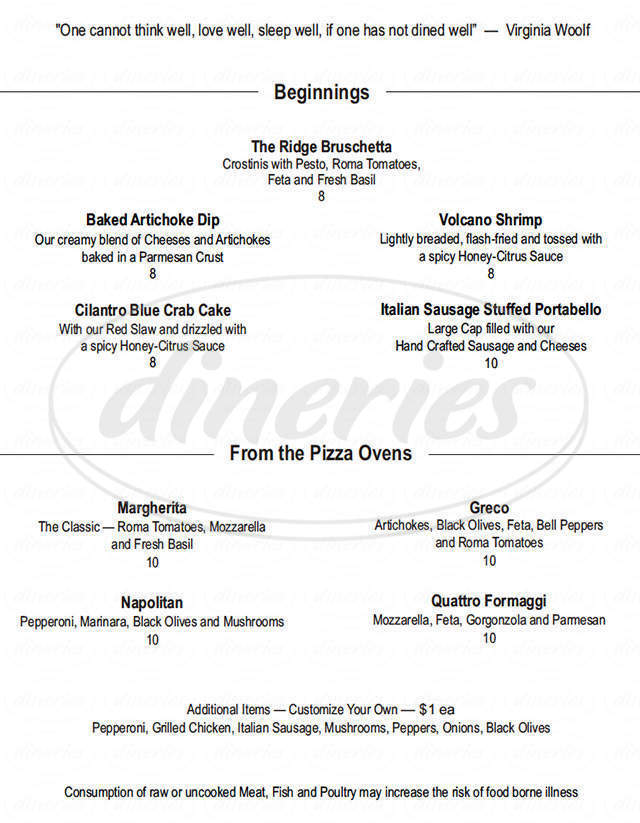 menu for The Ridge Grill