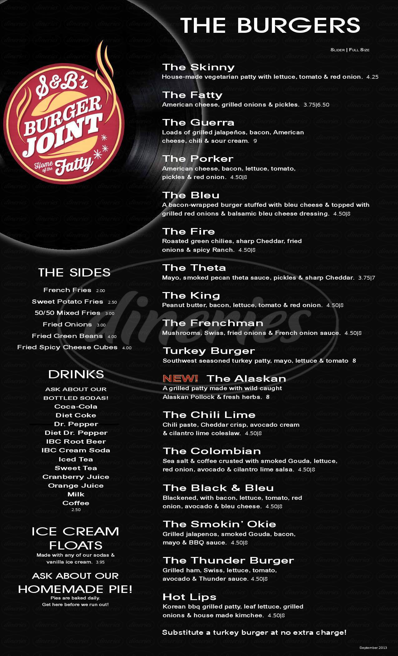menu for S & B's Burger Joint