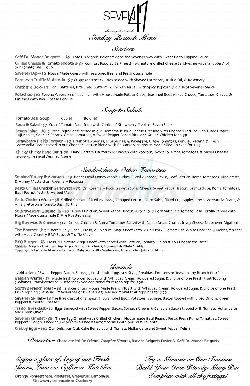 menu for Seven47