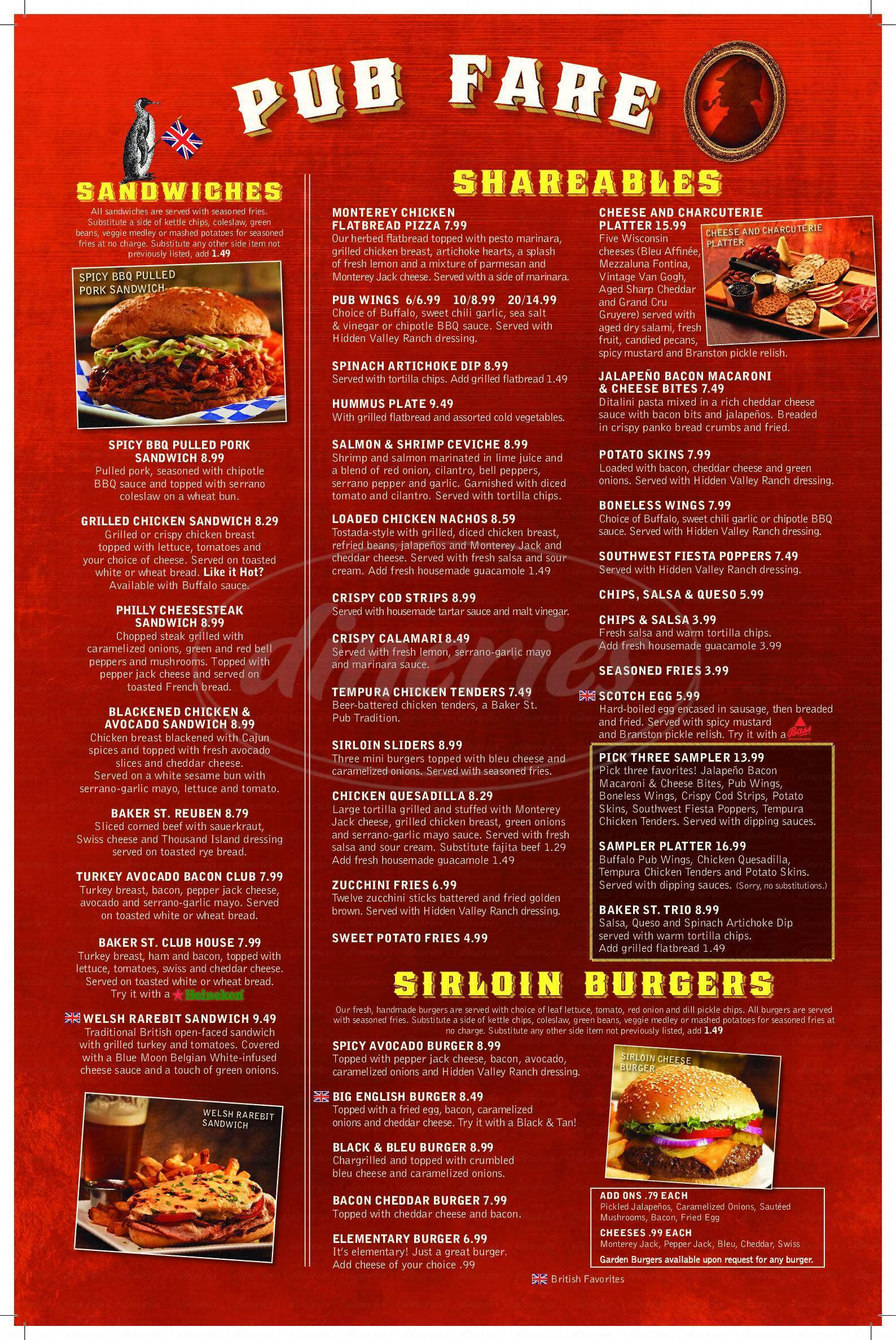 menu for Baker Street Pub & Grill