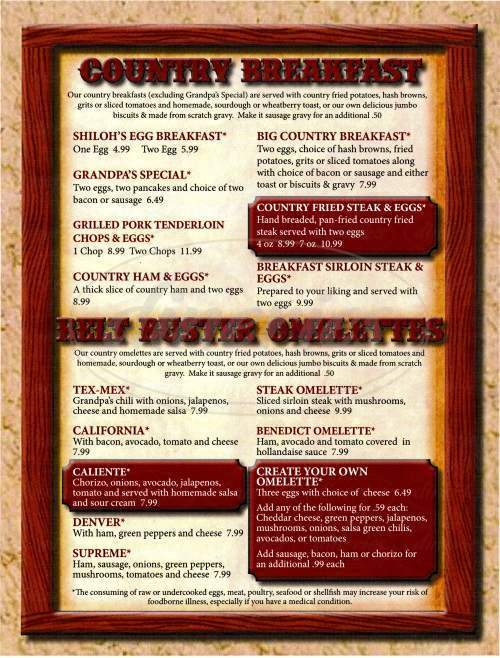 menu for Shiloh's Restaurant
