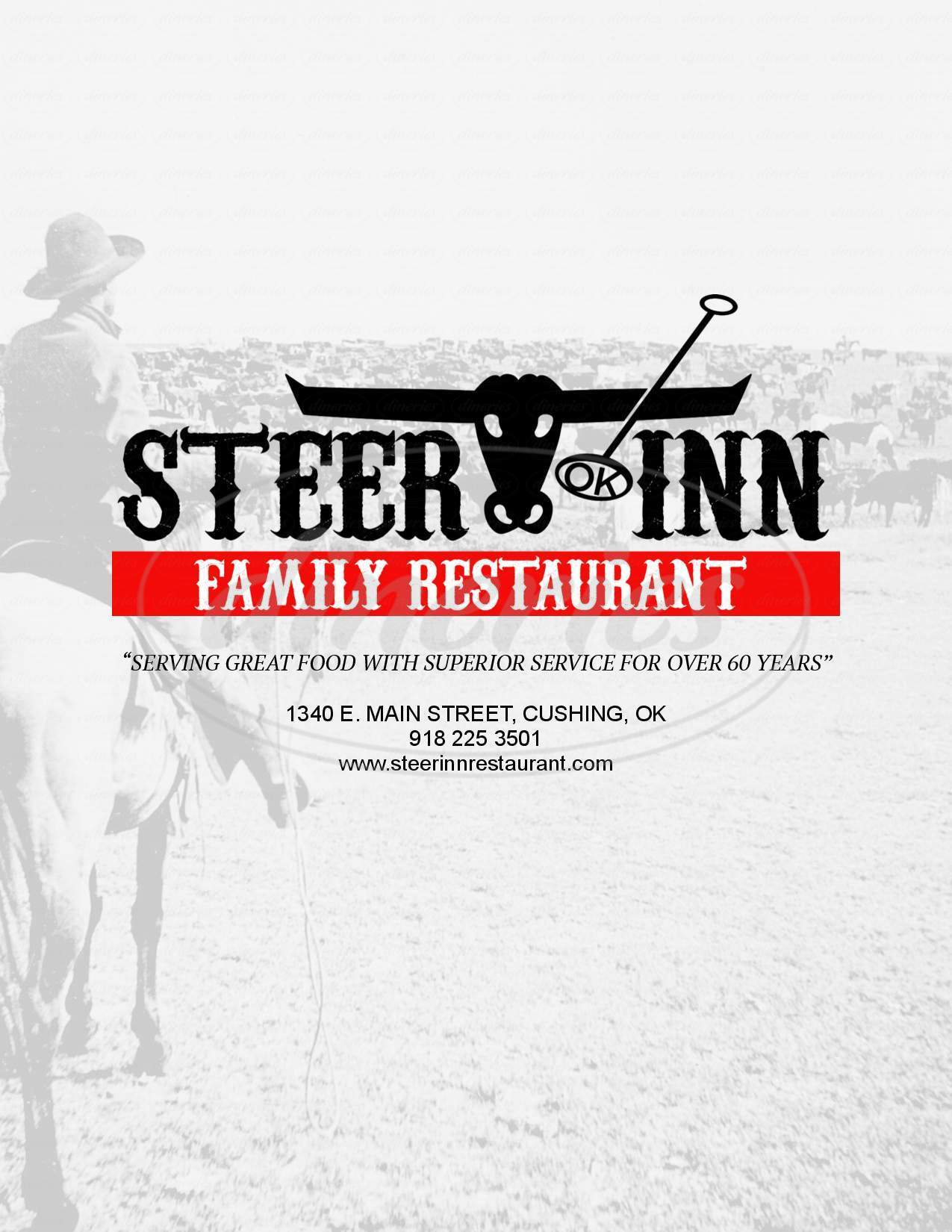 menu for Steer Inn Family Restaurant