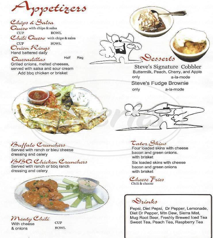 menu for Steve's Rib
