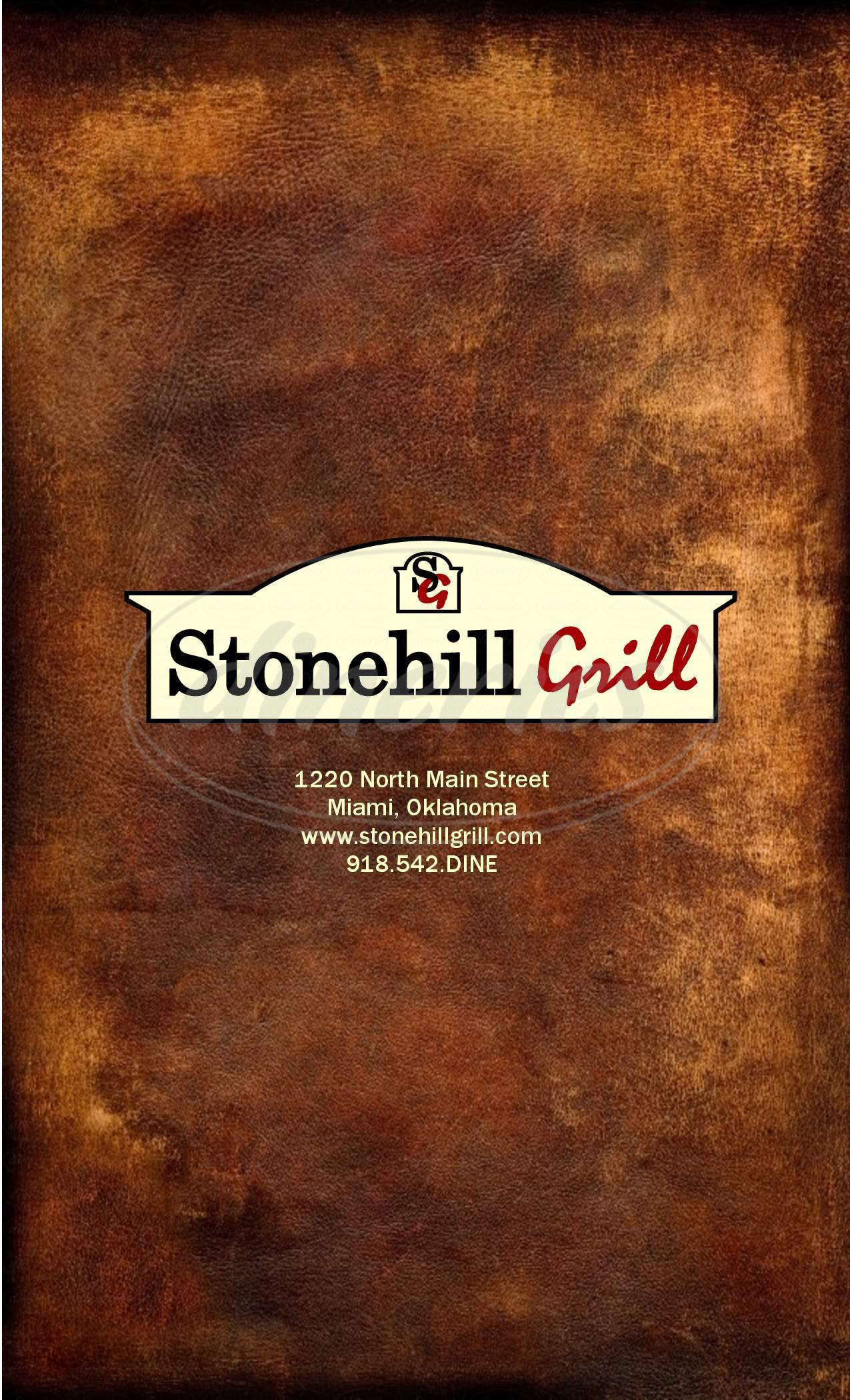 menu for Stonehill Grill