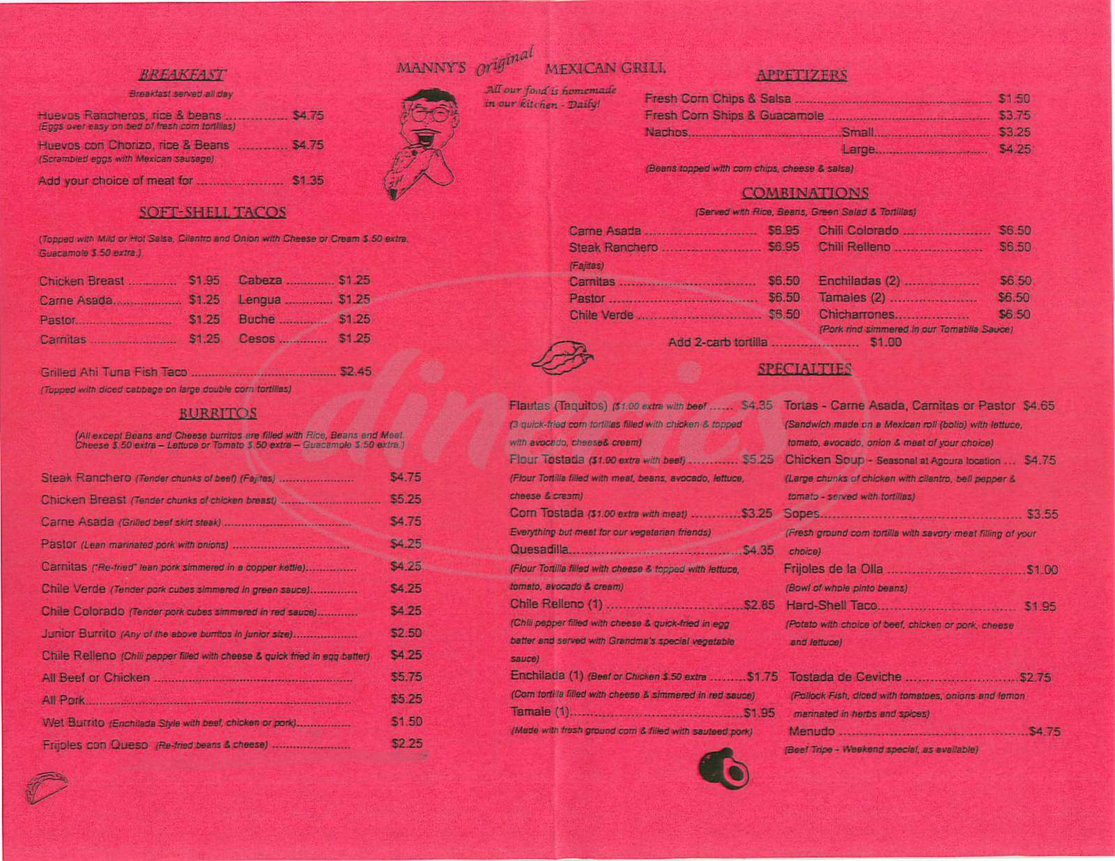 menu for Mannys Mexican Grill