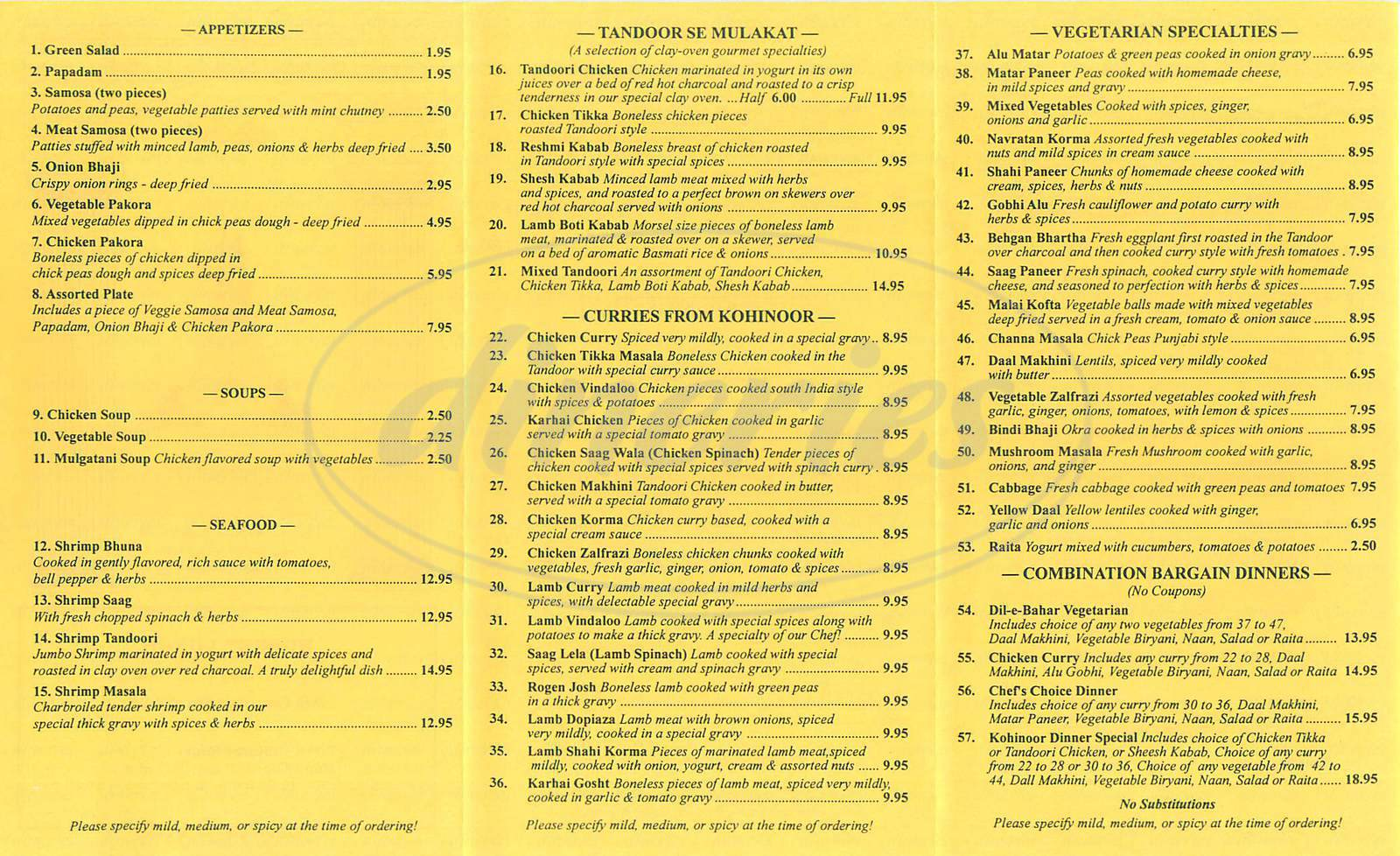 Big menu for Kohinoor Cuisine of India, Thousand Oaks