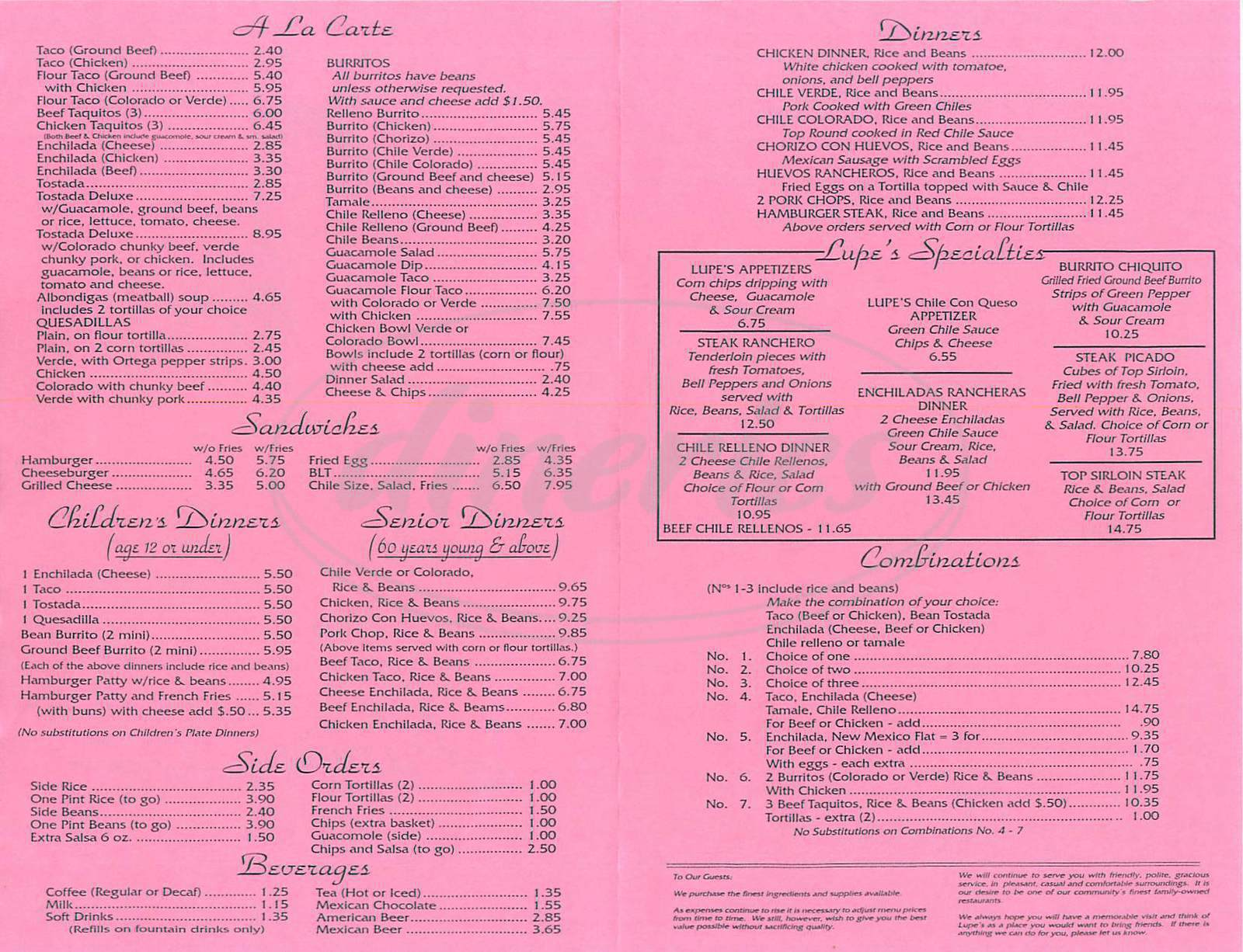 menu for Lupe's Restaurant