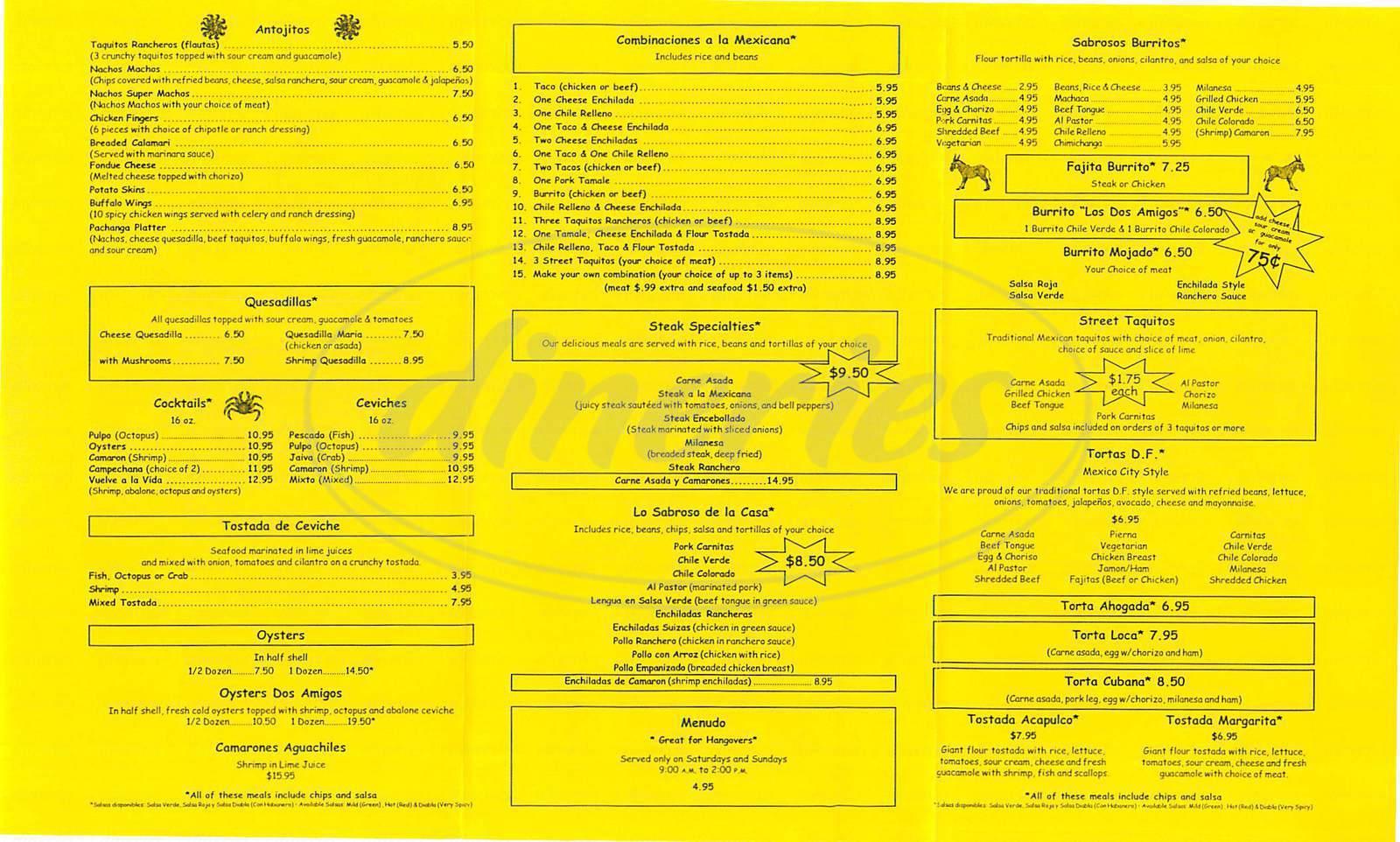 menu for Los Dos Amigos
