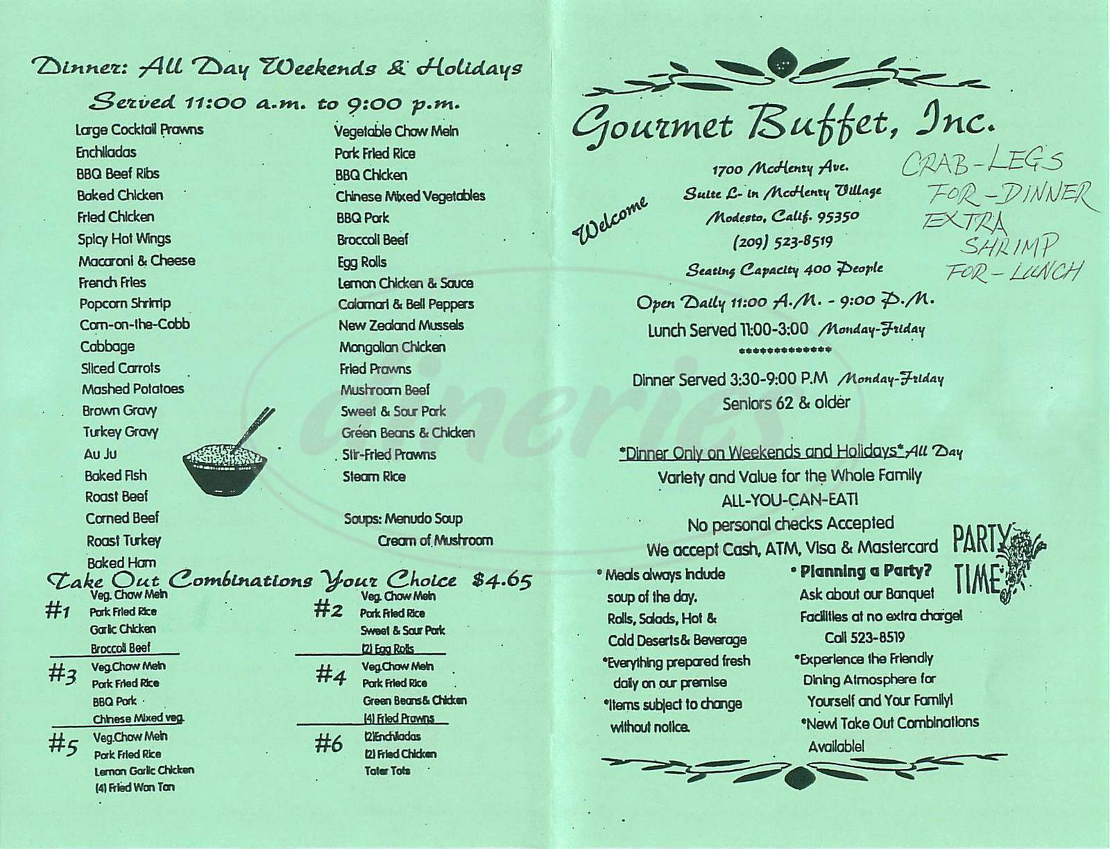menu for Gourmet Buffet