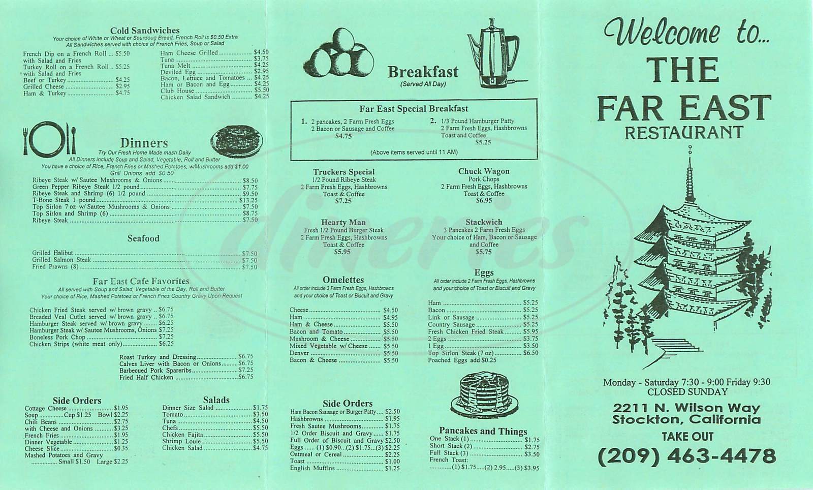 menu for Far East Restaurant