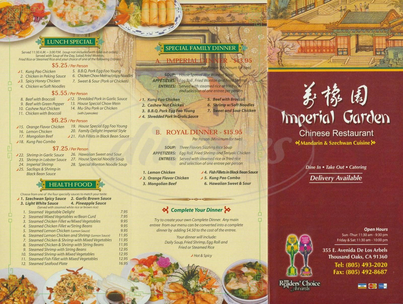 menu for Imperial Garden