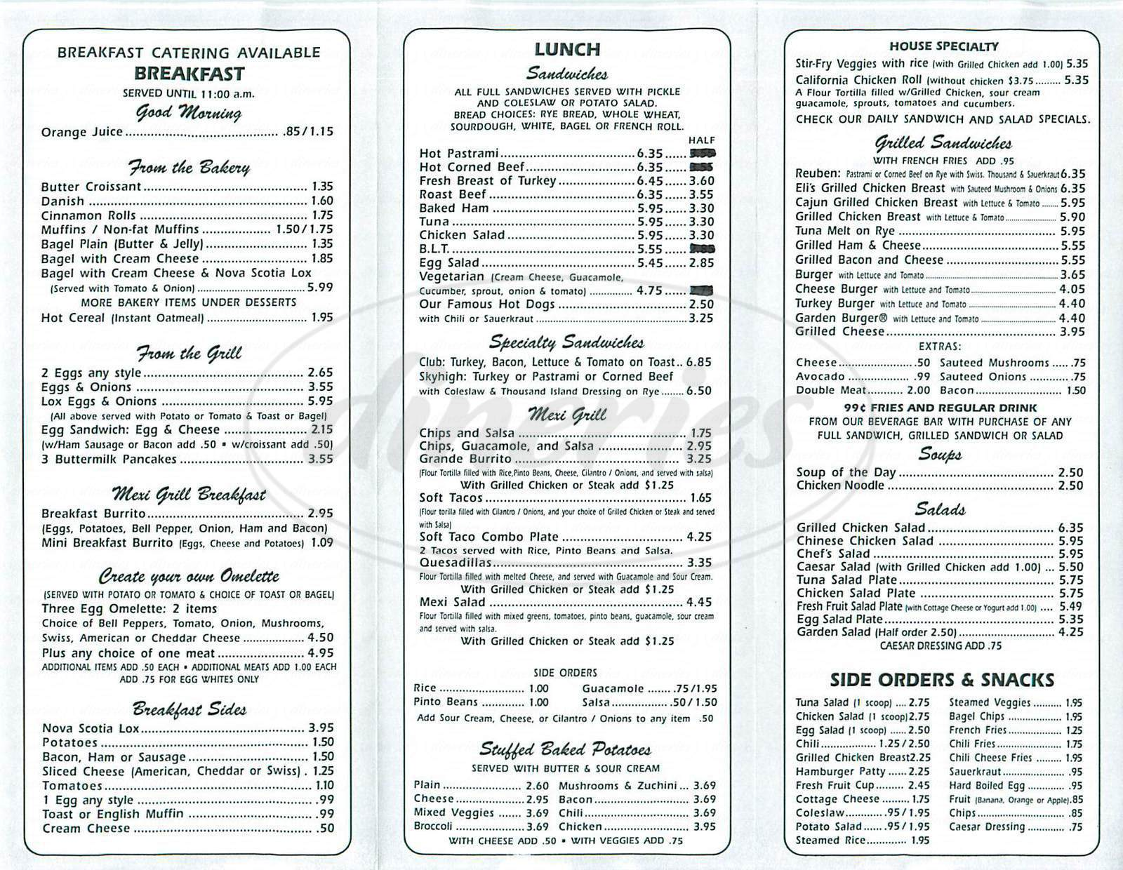 menu for Beverly Deli