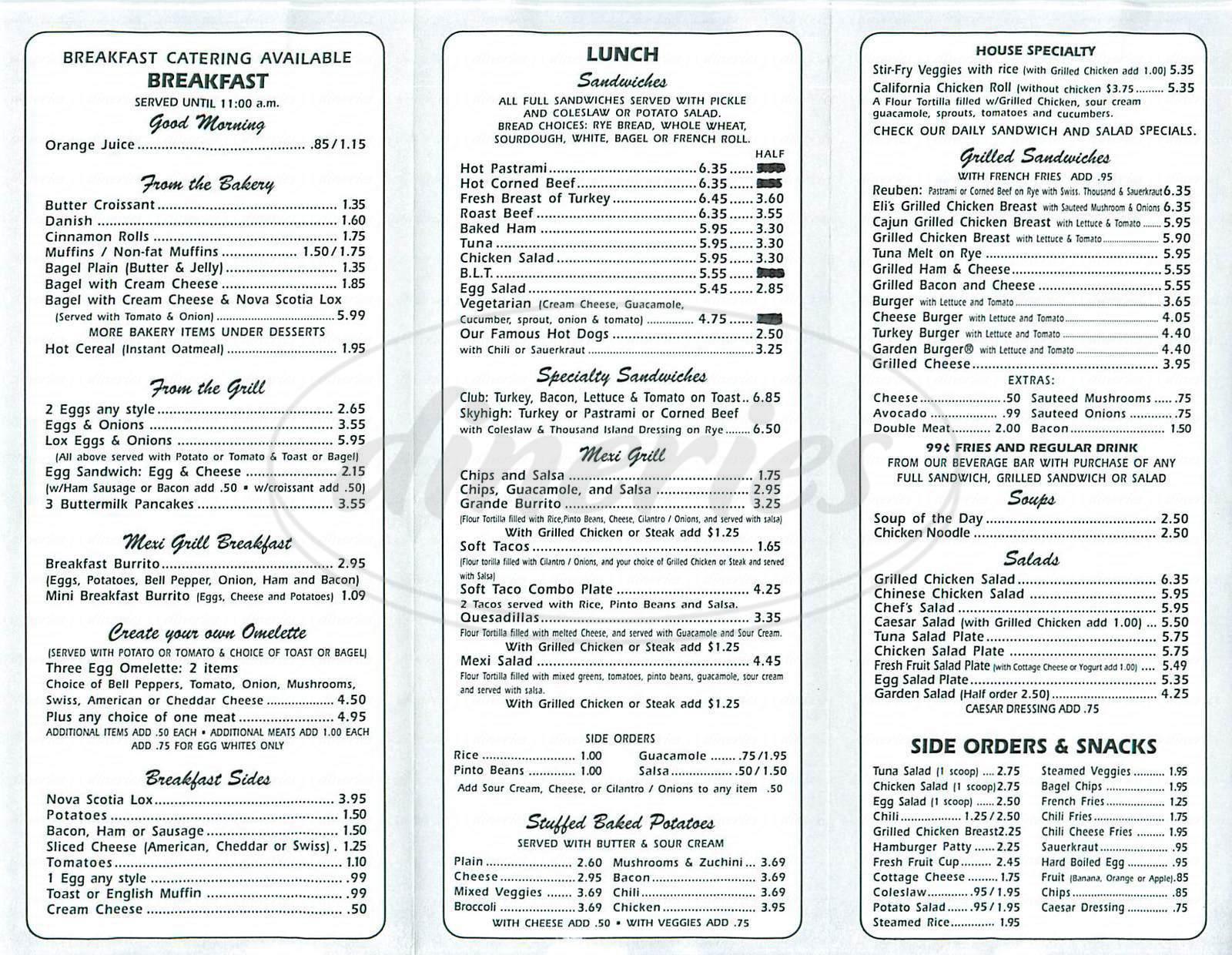 menu for Beverly Deli