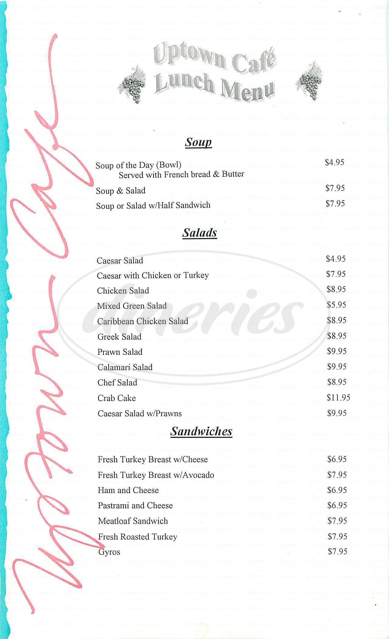menu for Uptown Café