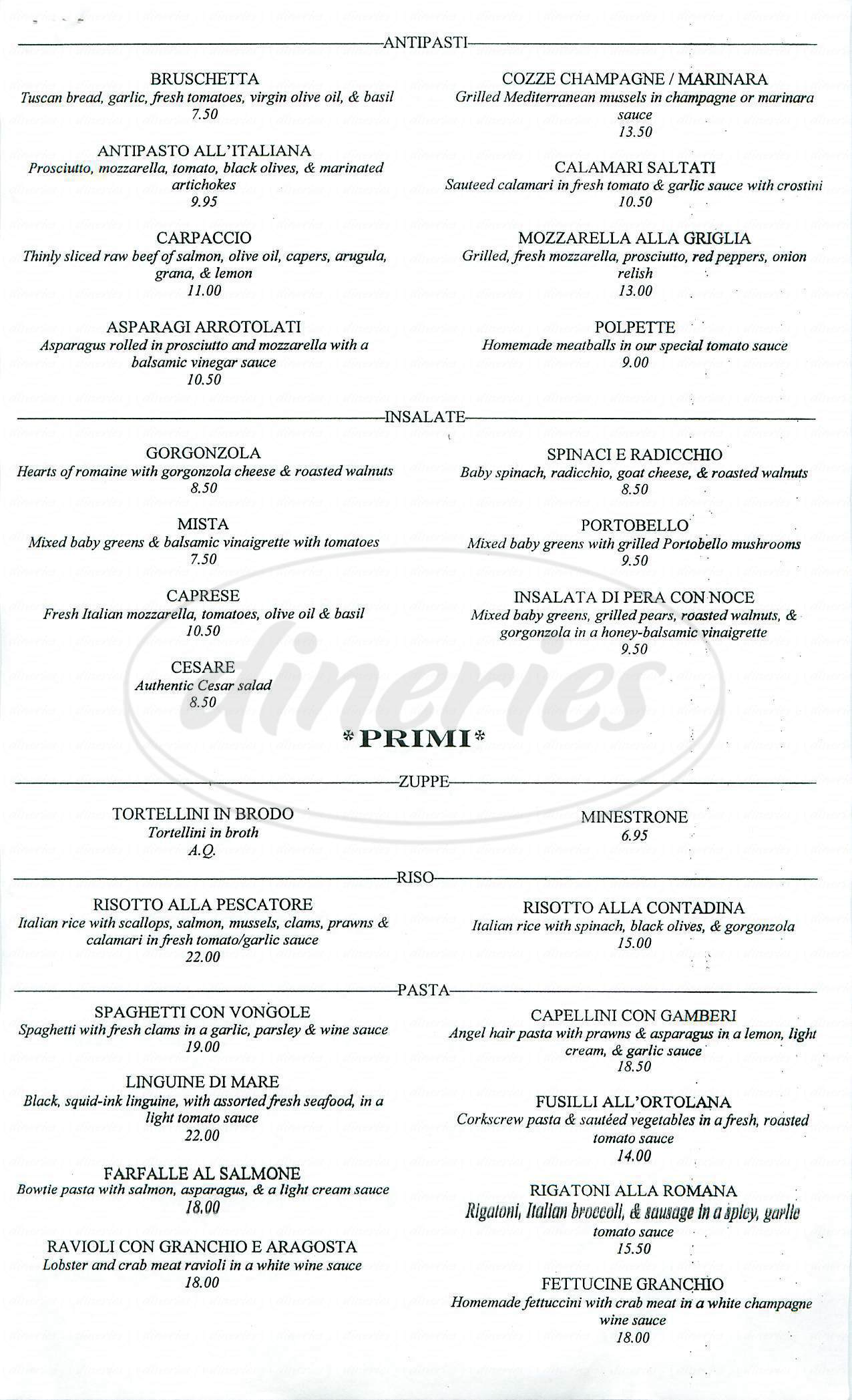 menu for Luisa's Italian Restaurant