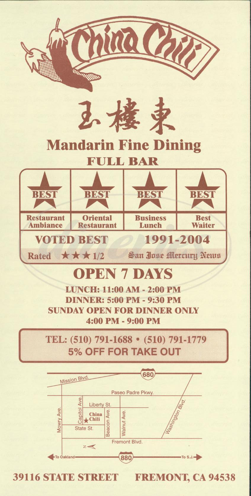 menu for China Chili Restaurant