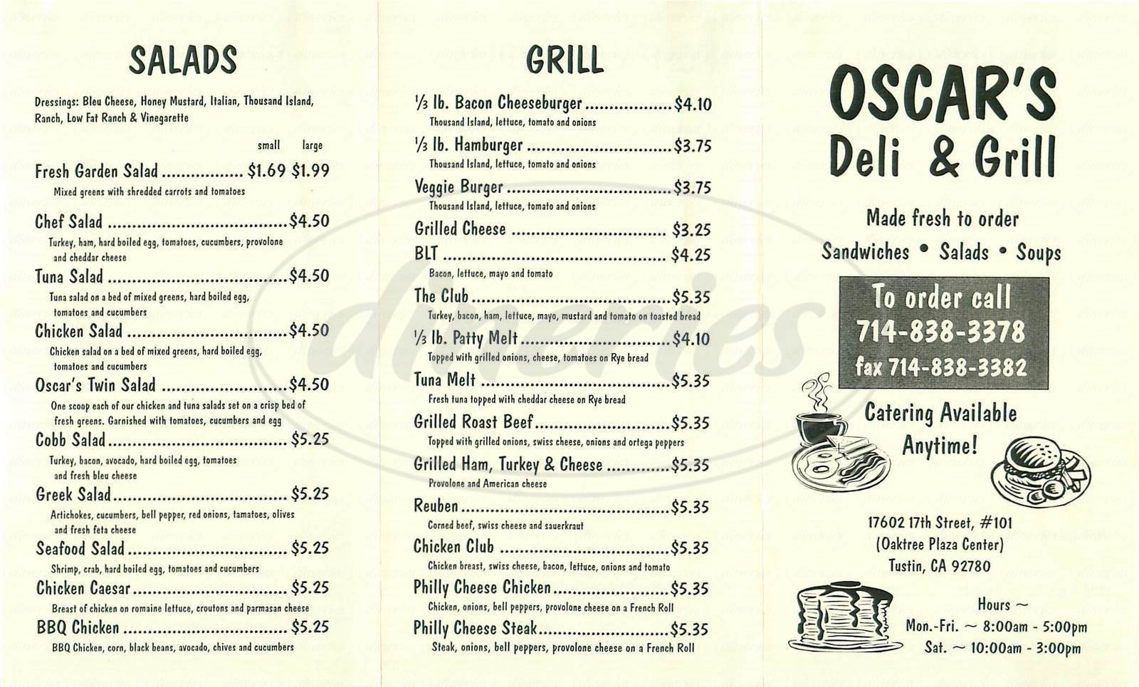 menu for Oscars Deli & Grill