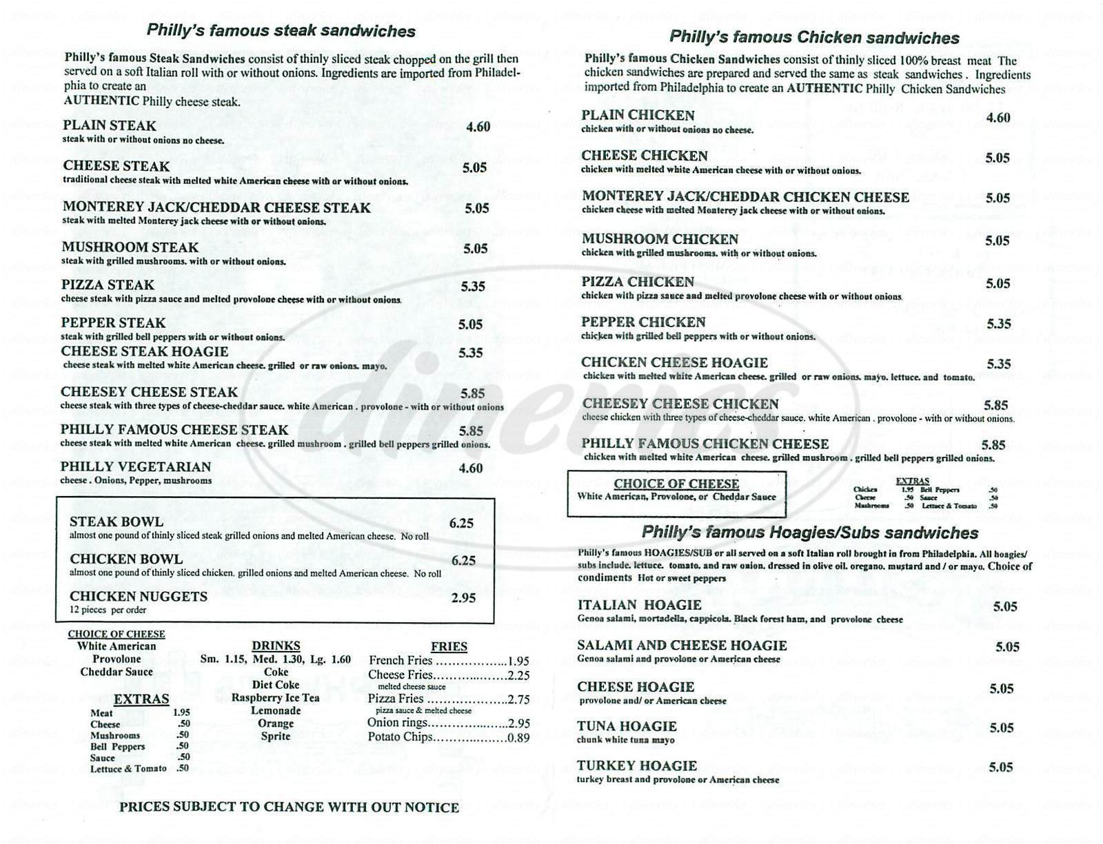 menu for Phillys Famous Cheesesteak