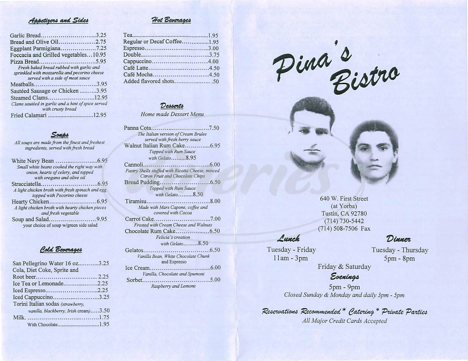 menu for Pinas Bistro