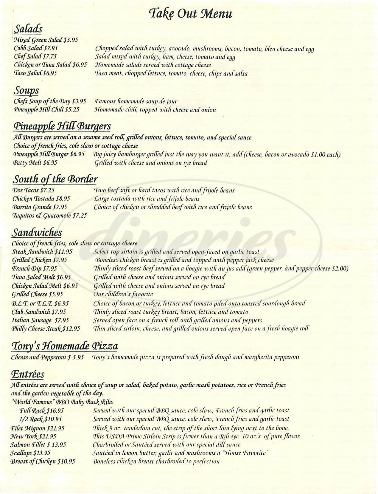 menu for Pineapple Hill Grill