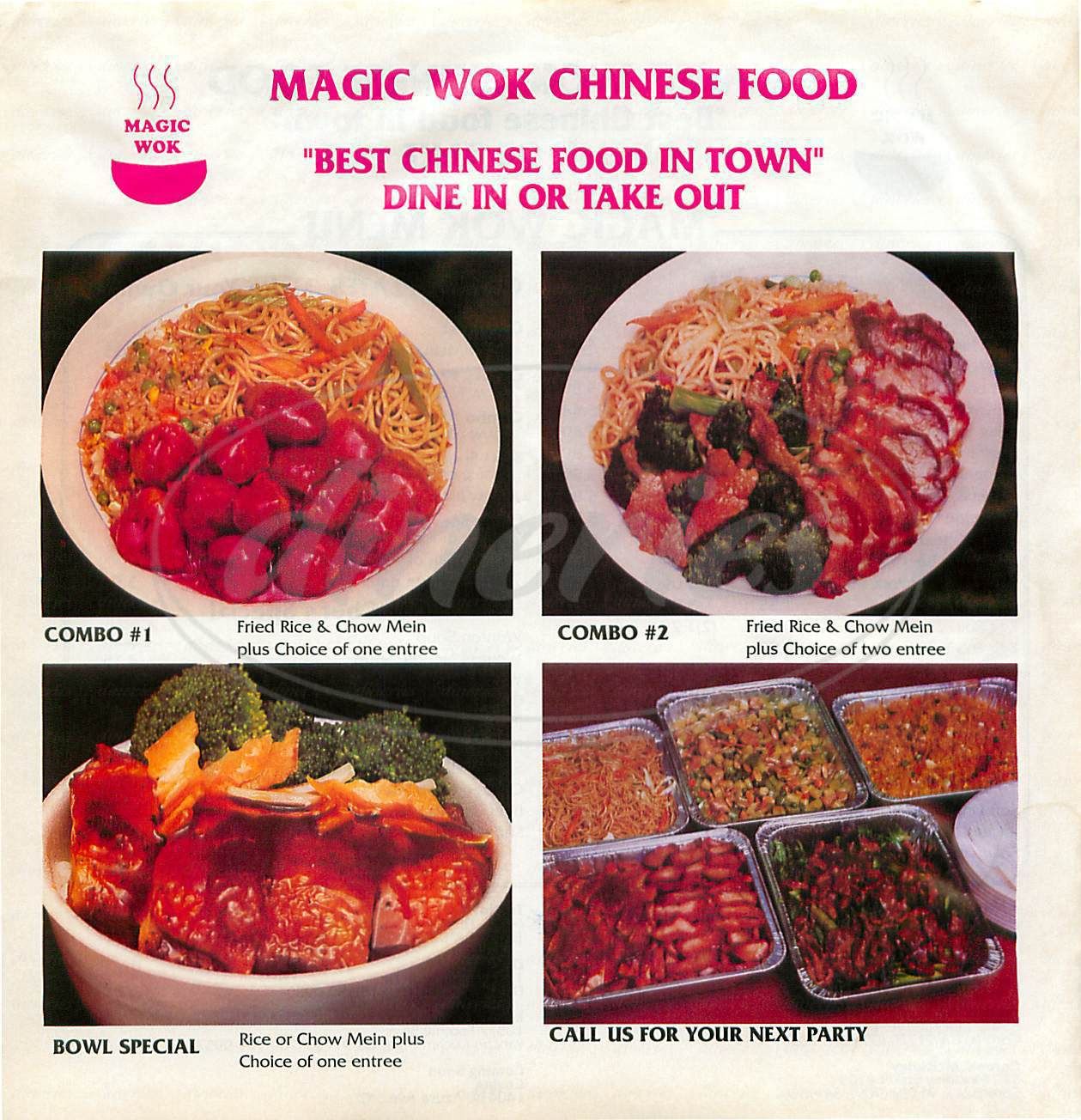 menu for Magic Wok Chinese Food