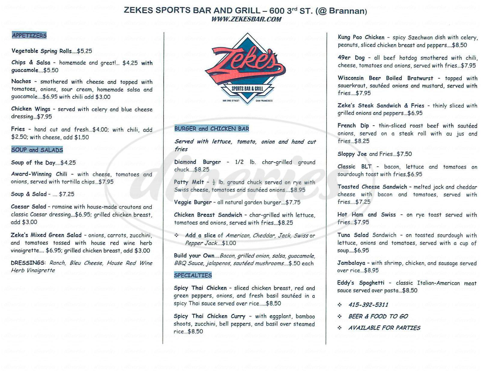 menu for Zekes Sports Bar