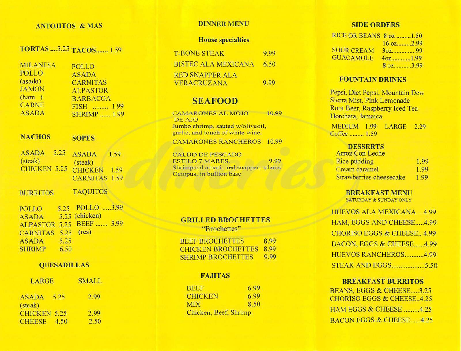 menu for La Provincia Mexican Grill