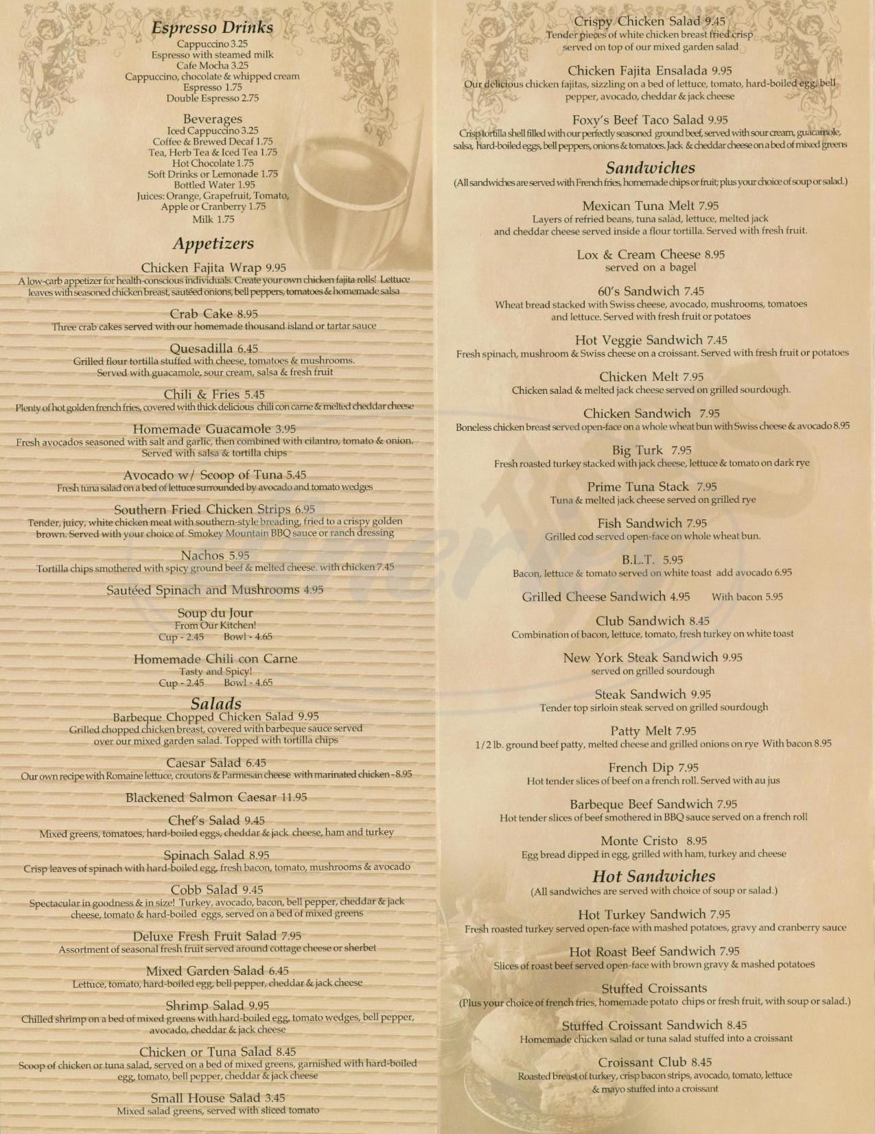 menu for Foxys Restaurant