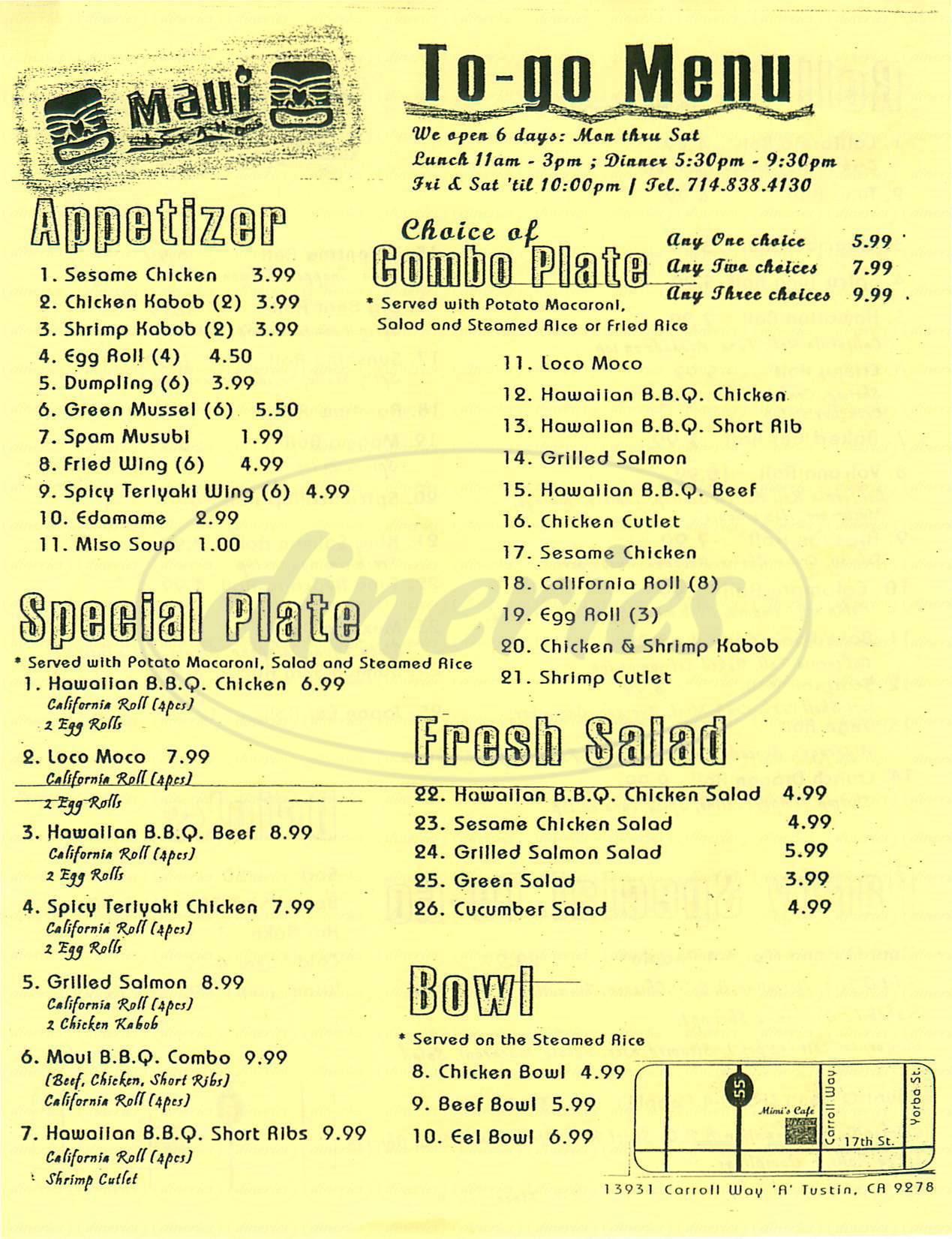 menu for Maui Island Bbq & Roll