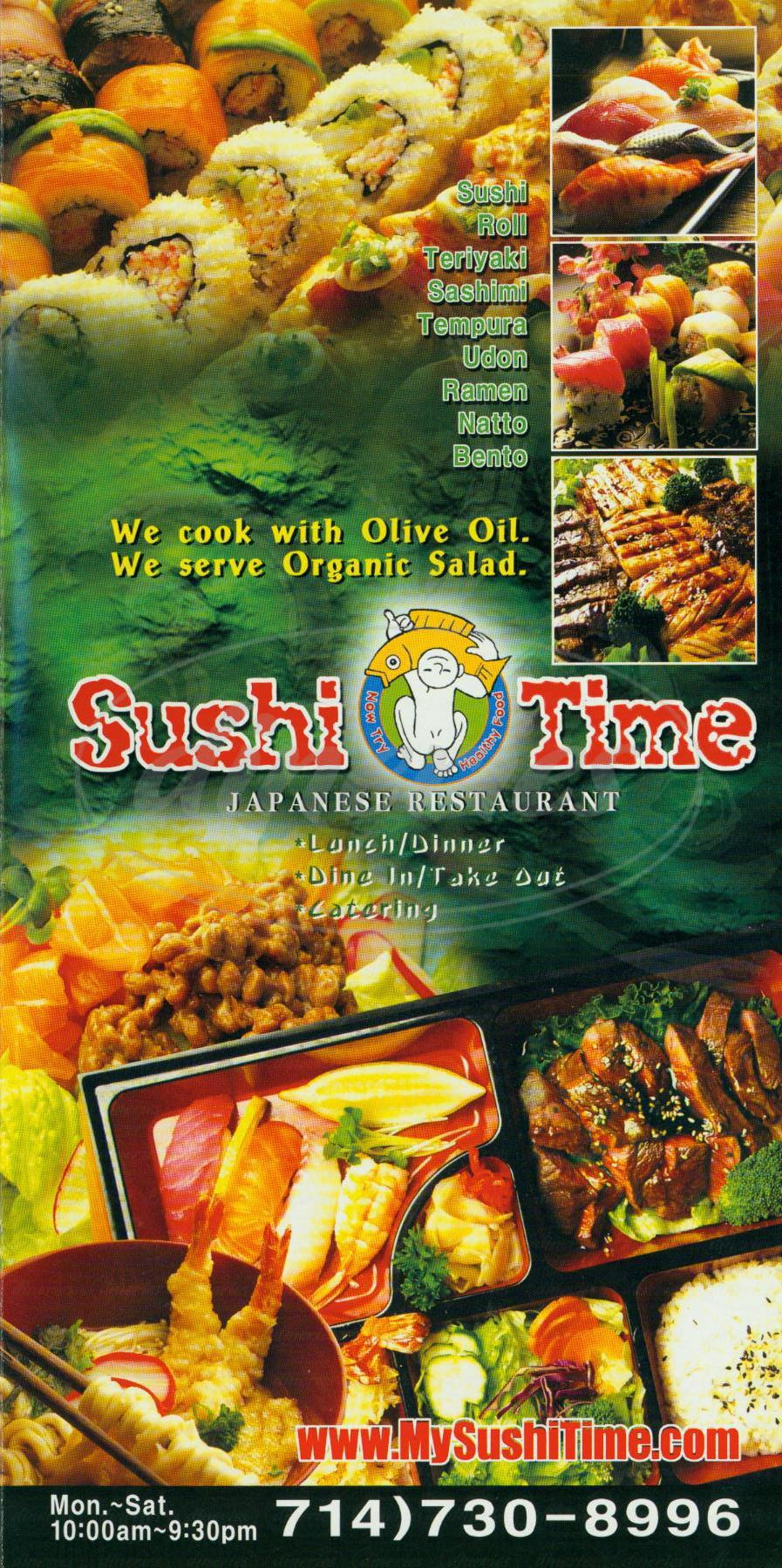 menu for Sushi Time