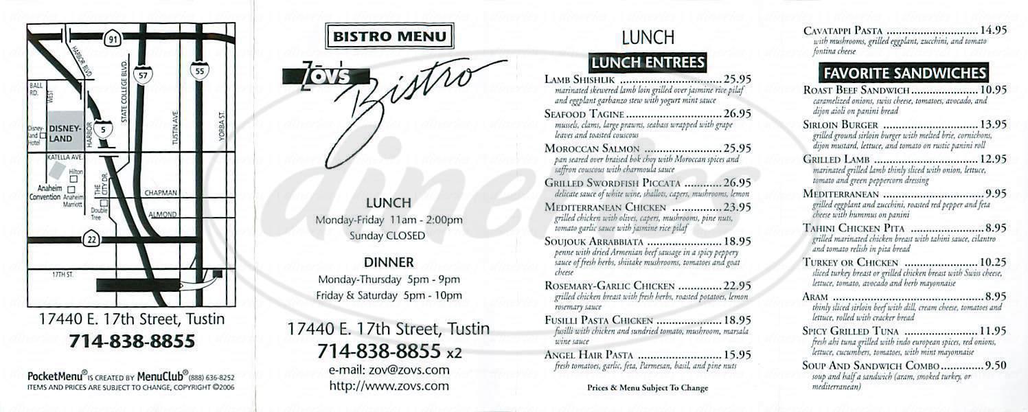 menu for Zovs Bistro