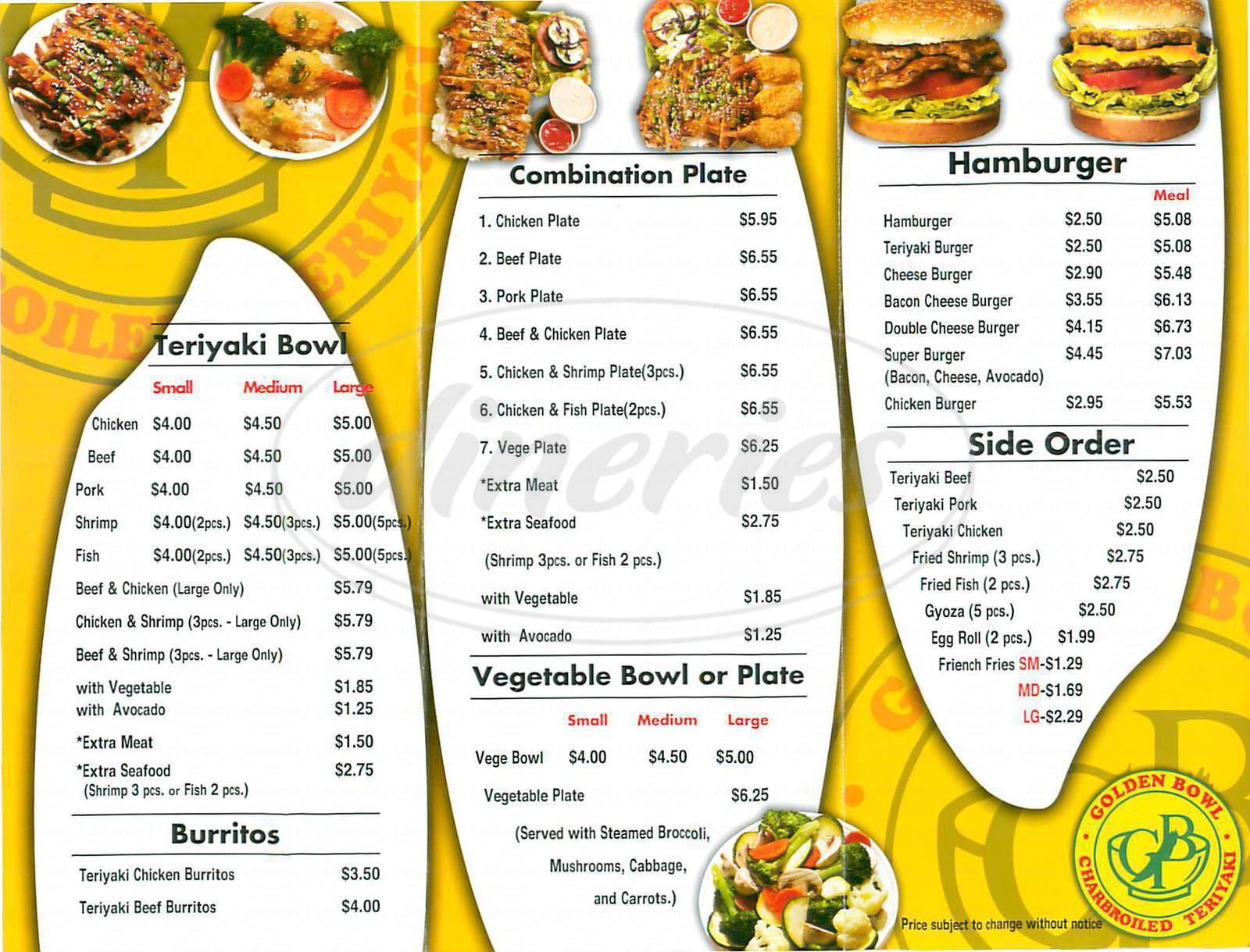 menu for Golden Bowl Teriyaki