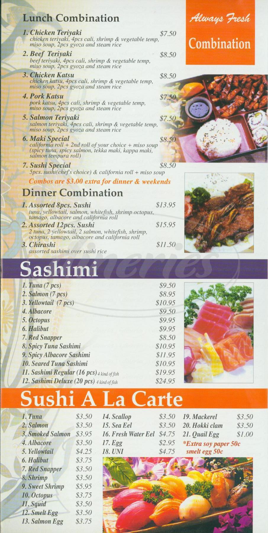 menu for Sushi Nizi