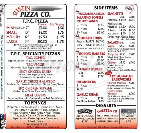 menu for Tustin Pizza Company