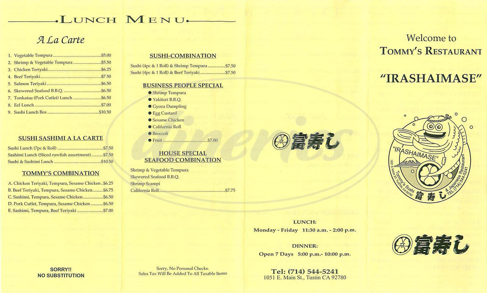 menu for Tommys Sushi Restaurant