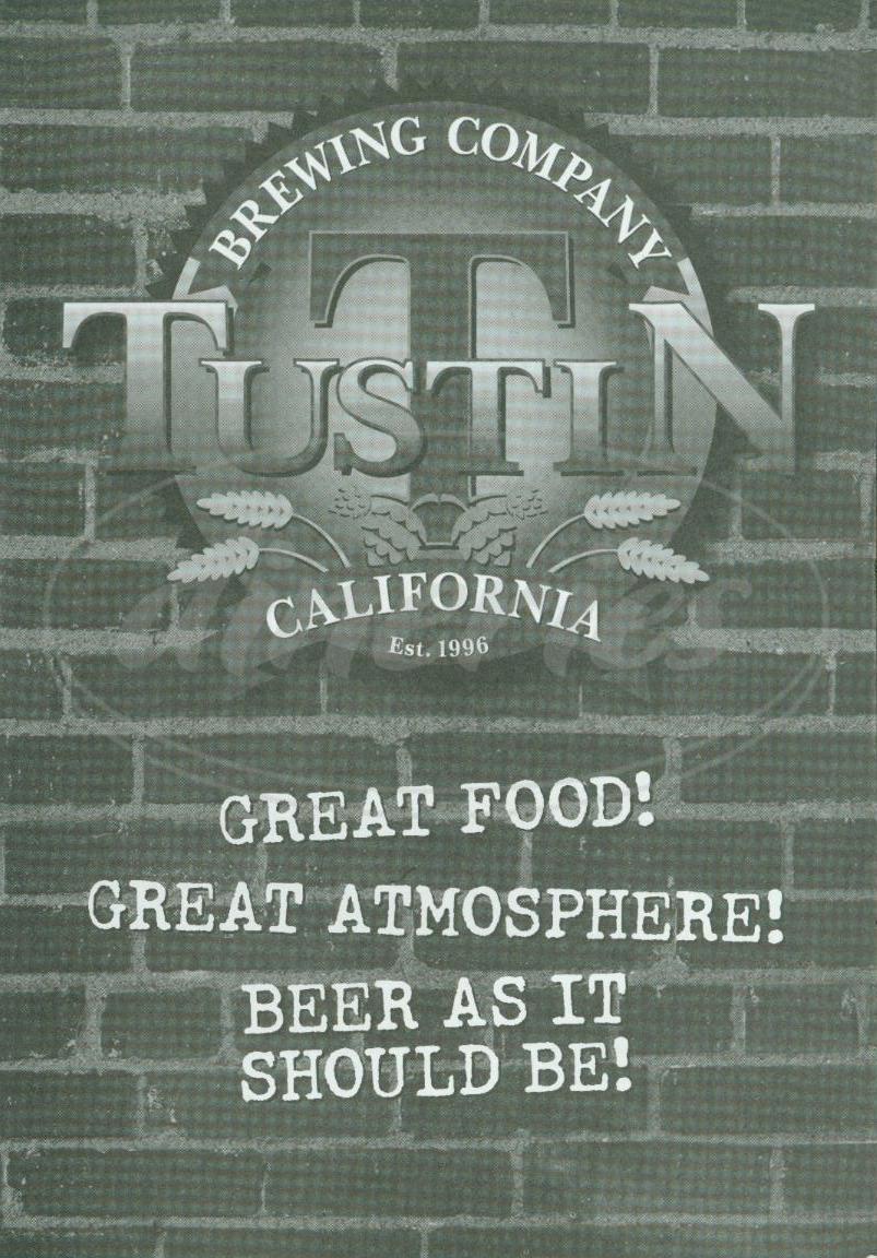 menu for Tustin Brewing Company